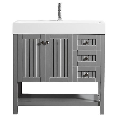 Pavia 36 inch Single Vanity in Grey with Acrylic under-mount Sink Without Mirror