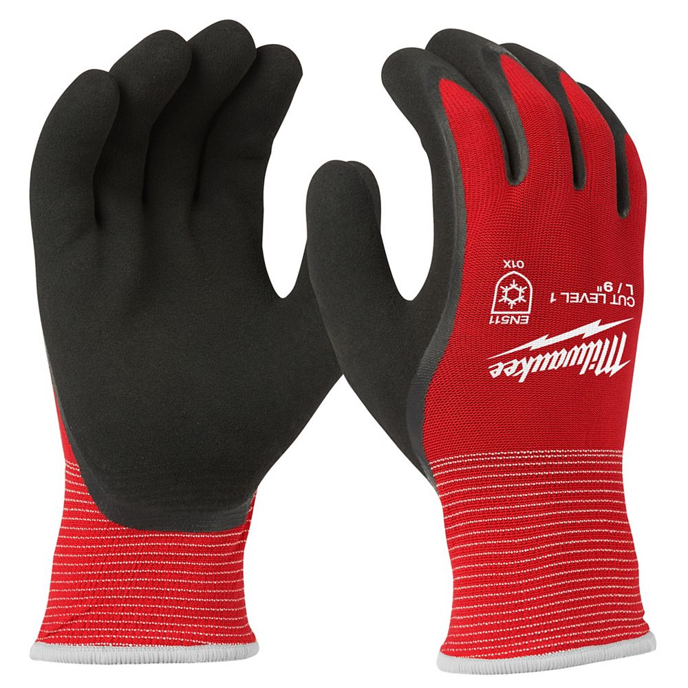 Milwaukee Tool X-Large Red Latex Dipped Cut 1 Resistant Winter Work Gloves