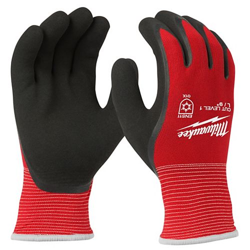 Large Red Latex Dipped Cut 1 Resistant Winter Work Gloves