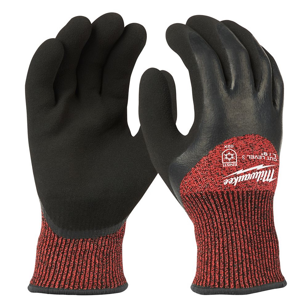 Milwaukee Tool Large Red Nitrile Dipped Cut 3 Resistant Winter Insulated Work Gloves