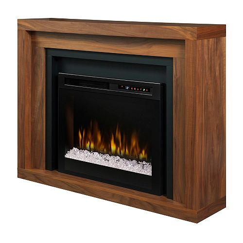 Anthony 48-inch Mantel in Walnut with a 26-inch Electric Fireplace with Glass Ember Bed