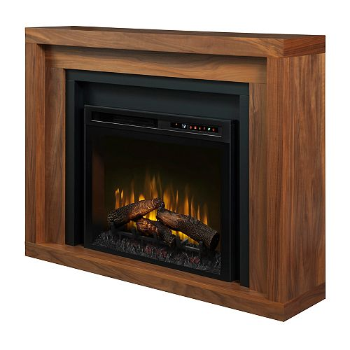 Anthony 48-inch Electric Fireplace with Logs in Walnut with 28-inch Mantel