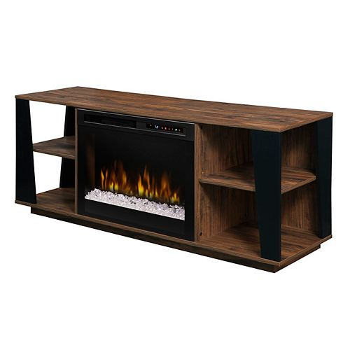 Arlo 60-inch Electric Fireplace with Glass Ember Bed in Walnut with 26-inch Media Console