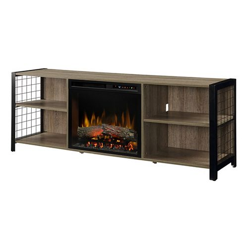 Asher 65-inch Electric Fireplace with Logs in Tudor Oak with 23-inch Media Console