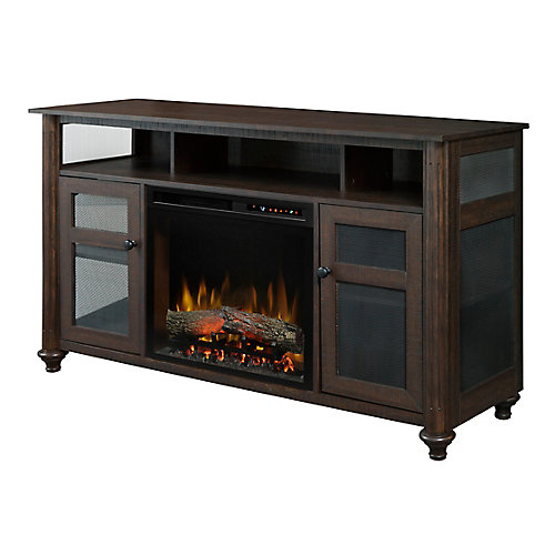 Xavier Media Console Electric Fireplace with Log Bed