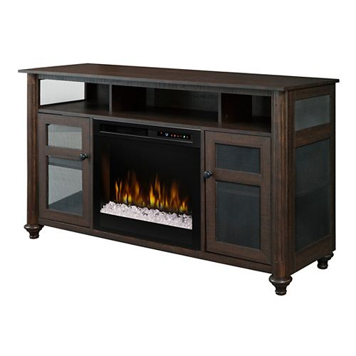 Xavier Media Console Electric Fireplace with Glass Ember Bed