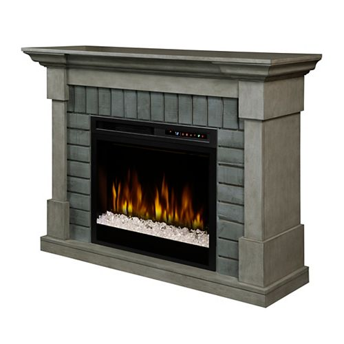 Royce Electric Fireplace Mantel with Glass Ember Bed
