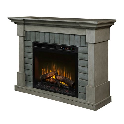 Royce 52-inch Mantel in Smoke Stak Grey with 28-inch Electric Fireplace with Logs