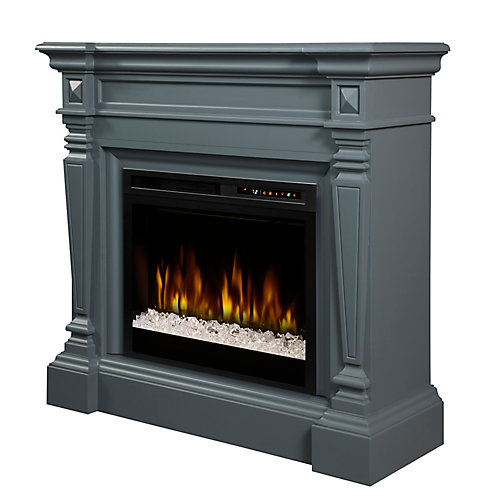 Heather Electric Fireplace Mantel with Glass Ember Bed
