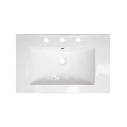 24 inch W 18 inch D Ceramic Top In White Color For 3H8 inch Faucet