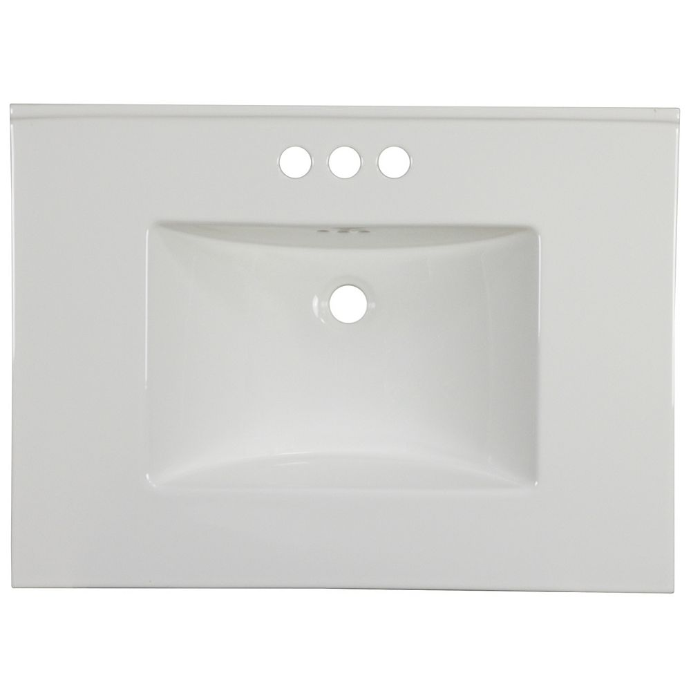 American Imaginations 30.75 inch W 22.25 inch D Ceramic Top In White Color For 3H4 inch Faucet