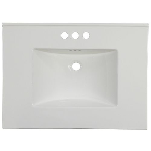 30.75 inch W 22.25 inch D Ceramic Top In White Color For 3H4 inch Faucet