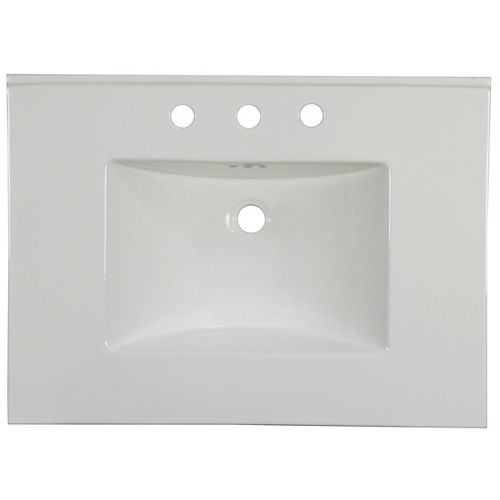 30.75 inch W 22.25 inch D Ceramic Top In White Color For 3H8 inch Faucet