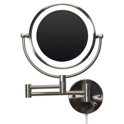 """20.83"""" Ronde Miroir grossissant à fixation murale en laiton à LED en couleur nickel brossé"""