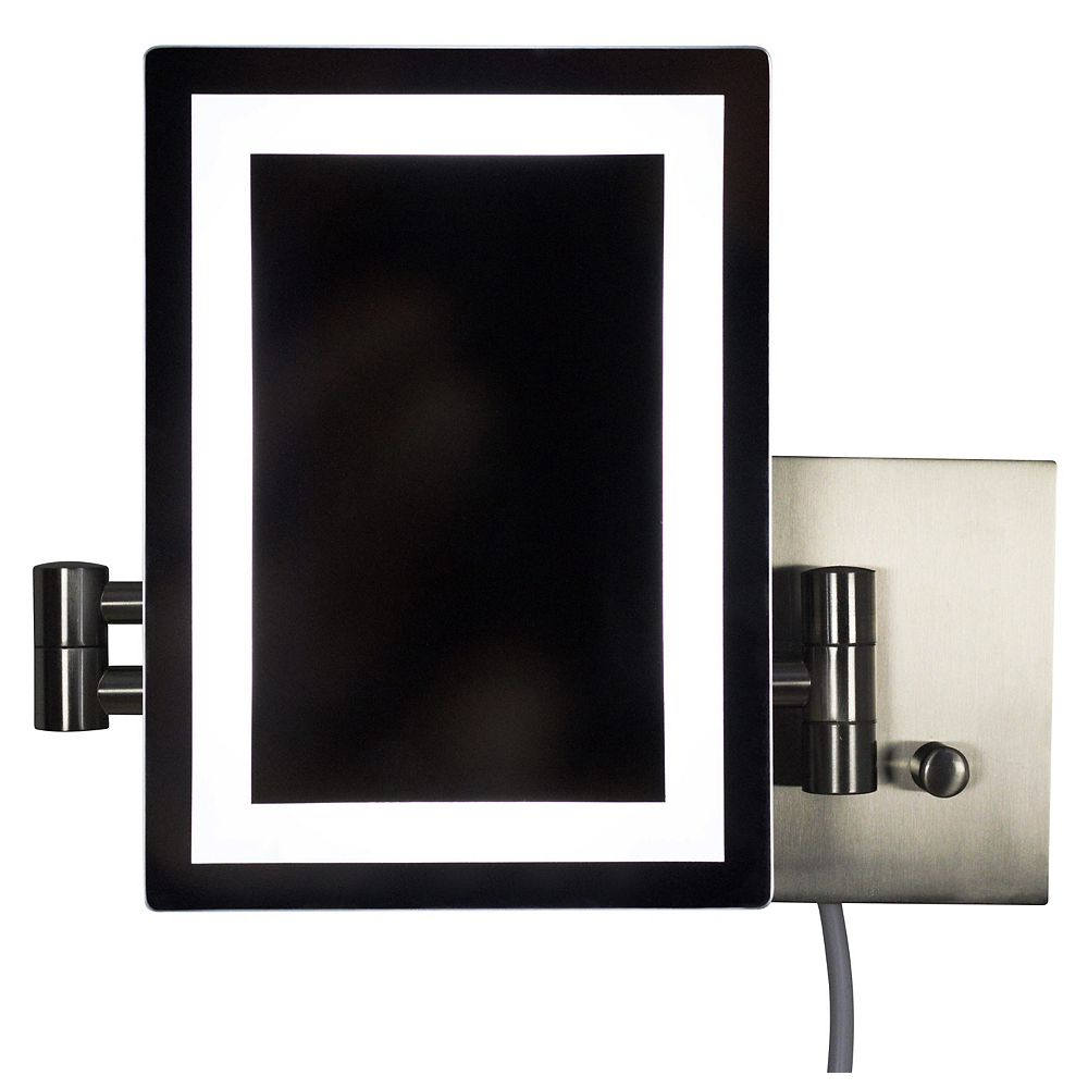 American Imaginations 17.44 inch W Rectangle Brass-LED Wall Mount Magnifying Mirror In Brushed Nickel Color