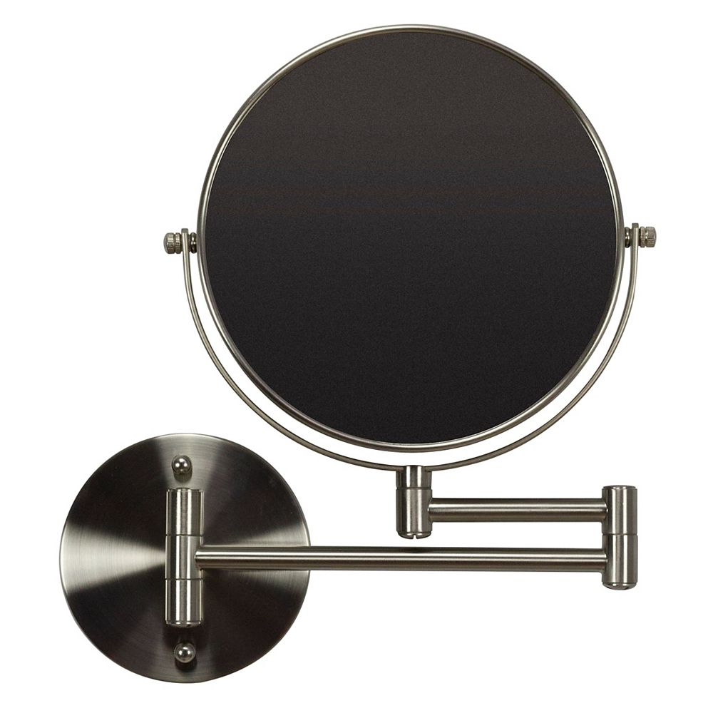 American Imaginations 19.56 inch W Round Brass-Mirror Wall Mount Magnifying Mirror In Brushed Nickel Color