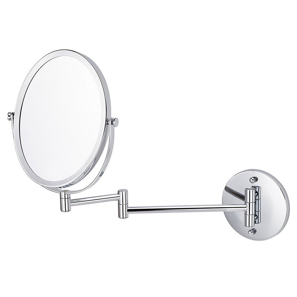 American Imaginations 16.95 inch W Oval Brass-Mirror Wall Mount Magnifying Mirror In Chrome Color