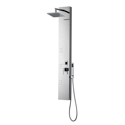 Panneau de douche mural rectangulaire aux normes CUPC avec douche pluie en chrome, acier inoxydable
