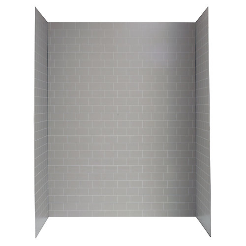 60-inch X 32-inch Shower Wall System In Grey Mosaic Subway Tile