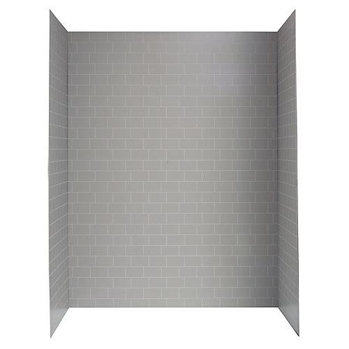 Système de mur de douche de 60 po X 32 po en mosaïque grise pour le métro