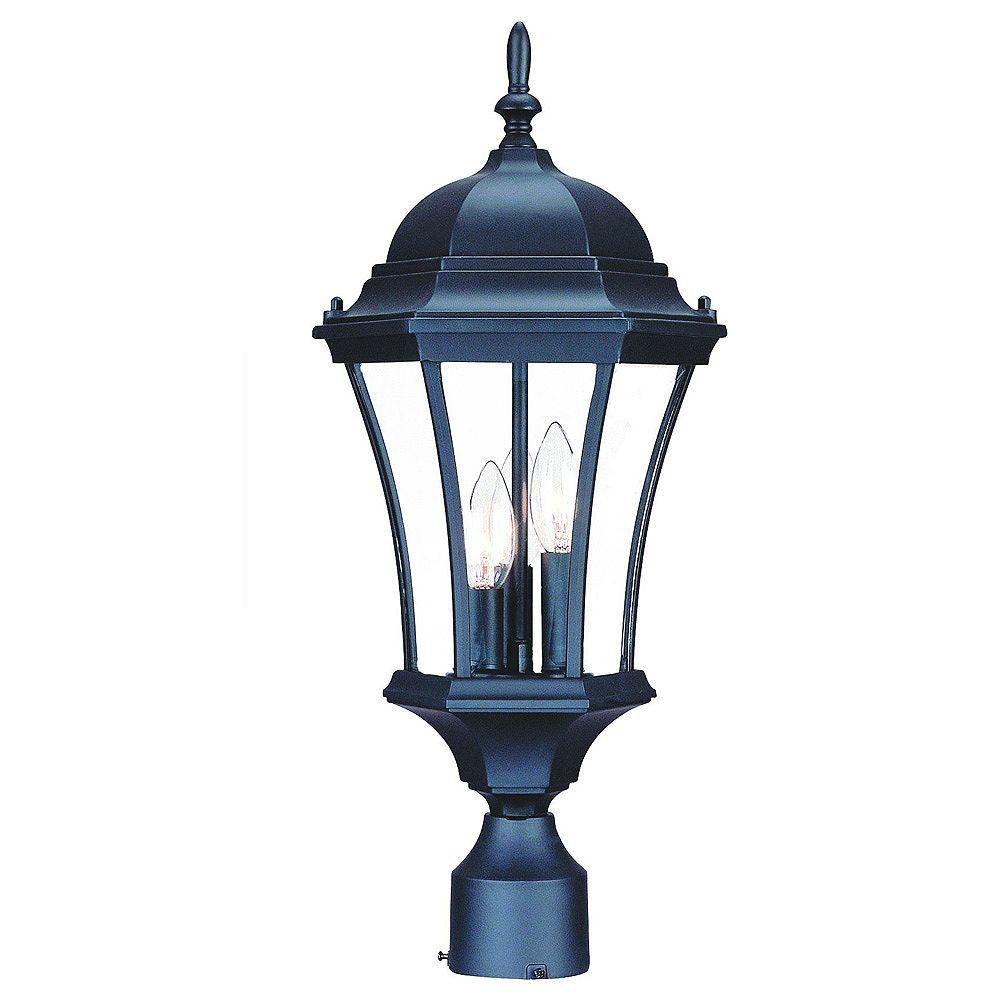 Acclaim Tête de lampadaire extérieur à 3 ampoules en fini noir mat de la Collection Bryn Mawr