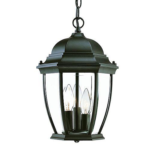 Lanterne suspendue extérieure noir mat à 3 ampoules de la Collection Wexford