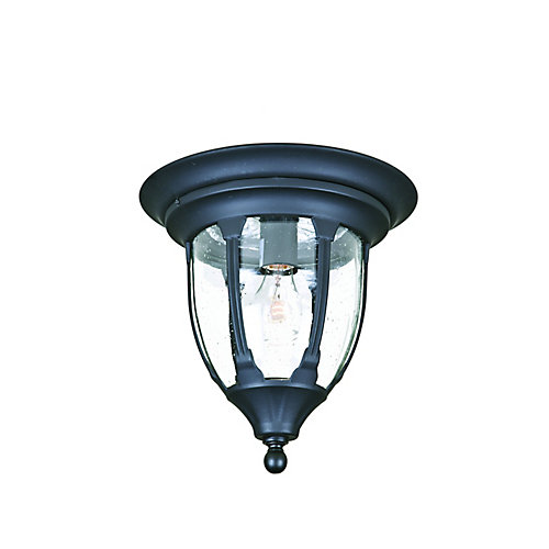 Suffolk Collection Ceiling-Mount 1-Light Outdoor Matte Black Fixture