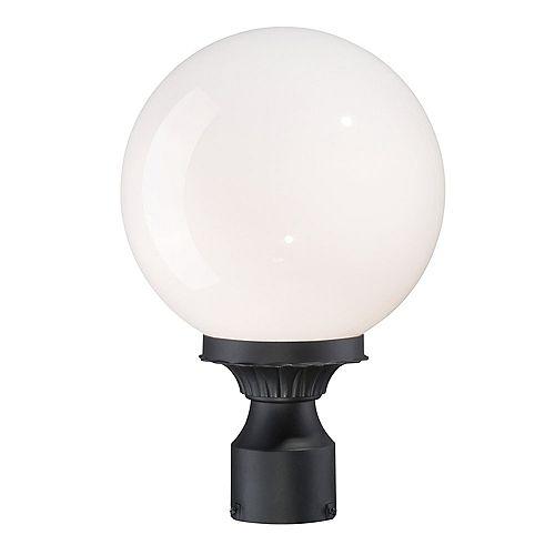 Tête de lampadaire extérieur à 1 ampoule en fini noir mat de la Collection Havana