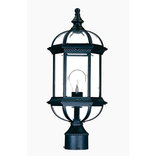 Tête de lampadaire extérieur noir mat à 1 ampoule de la Collection Dover