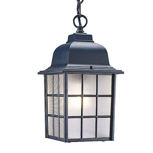 Lanterne suspendue extérieure noir mat à 1 ampoule de la Collection Nautica