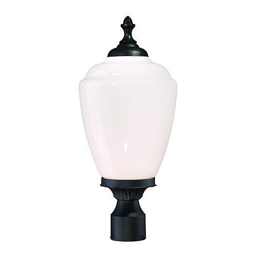 Tête de lampadaire extérieur noir mat à 1 ampoule de la Collection Acorn