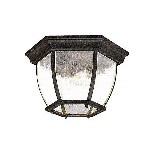 Plafonnier extérieur à 3 ampoules en fini corail noir de la Collection Flushmount