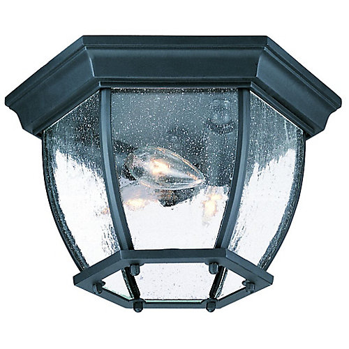 Flushmount Collection Ceiling-Mount 3-Light Outdoor Fixture in Matte Black