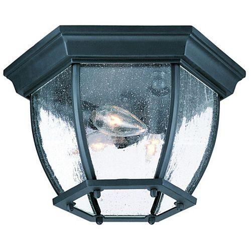 Plafonnier extérieur à 3 ampoules en fini noir mat de la Collection Flushmount