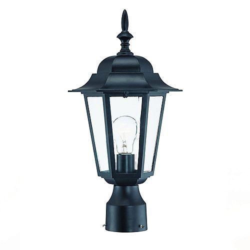 Tête de lampadaire extérieur noir mat à 1 ampoule de la Collection Camelot