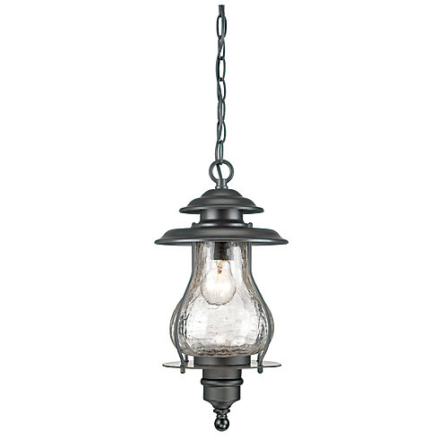 Blue Ridge Collection  1-Light Outdoor Hanging Lantern in Matte Black