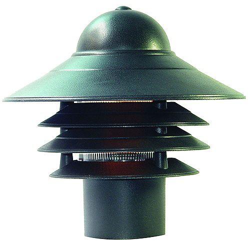 Tête de lampadaire extérieur à 1 ampoule en fini noir mat de la Collection Mariner