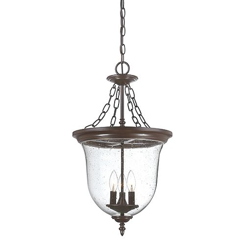 Belle Collection Hanging Lantern 3-Light Outdoor Fixture in Architectural Bronze