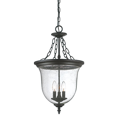 Belle Collection Hanging Lantern 3-Light Outdoor Fixture in Matte Black