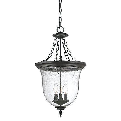 Belle collection lanterne suspendue 3-luminaire extérieur en noir mat