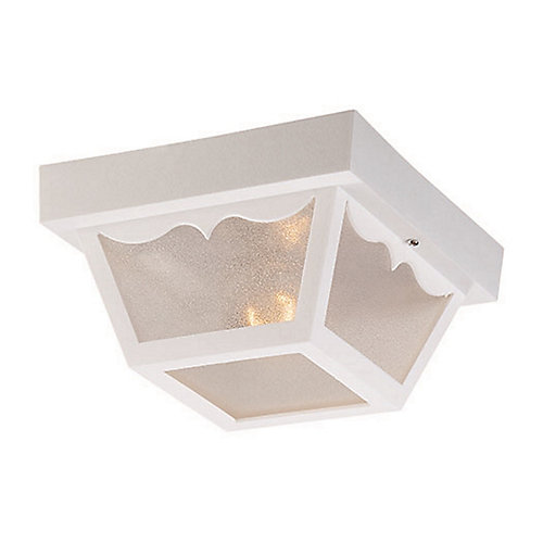 Builders' Choice Collection Ceiling-Mount 1-Light Outdoor White Light Fixture