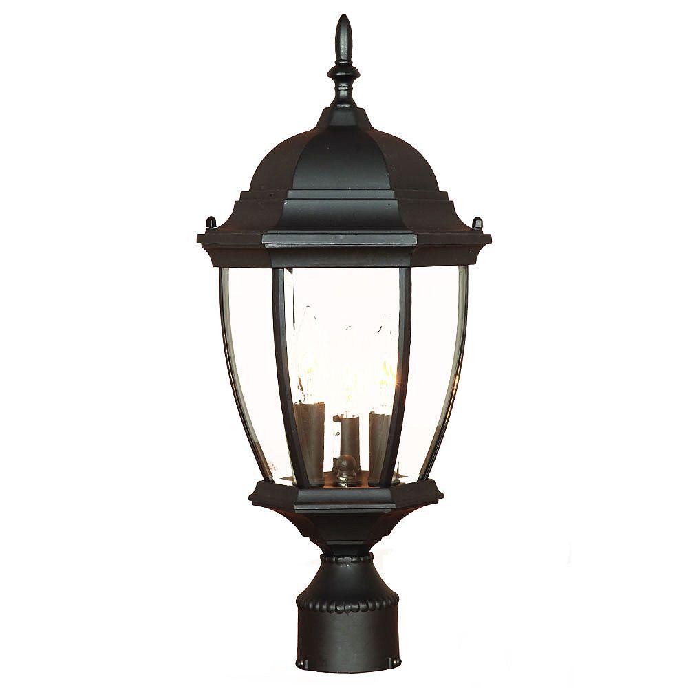Acclaim Tête de lampadaire extérieur noir mat à 3 ampoules de la Collection Wexford