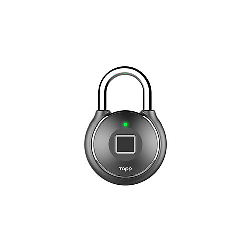One Plus Smart Fingerprint Scanning Waterproof Bluetooth Biometric Padlock - Gun Metal