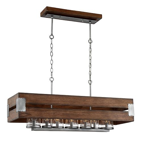 Eurofase Ackwood 7-Light Dark Wood Rectangular Chandelier with Clear Seeded Glass Shades