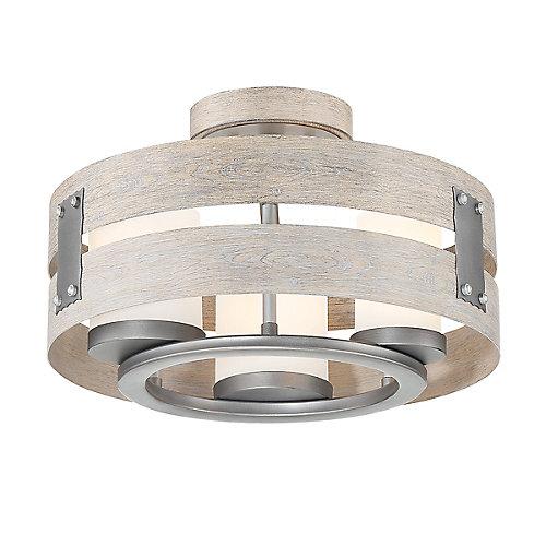 Ackwood 3-Light Grey Clear Glass Semi-Flushmount and Pendant Light Fixture