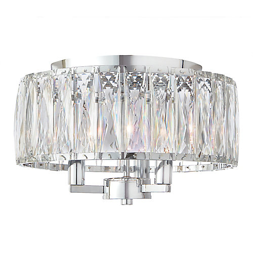 3-Light Chrome Flushmount Light Fixture