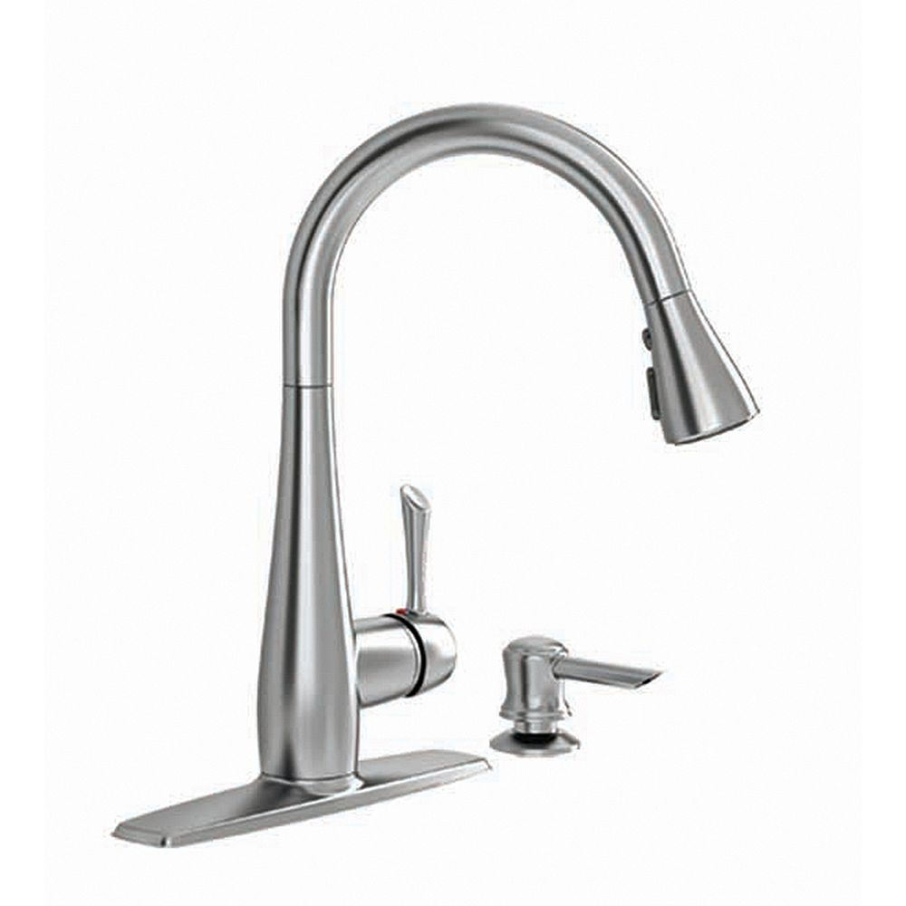 American Standard Olvera Single Handle High Arc Pull Down Kitchen Faucet With Soap Dispens The Home Depot Canada