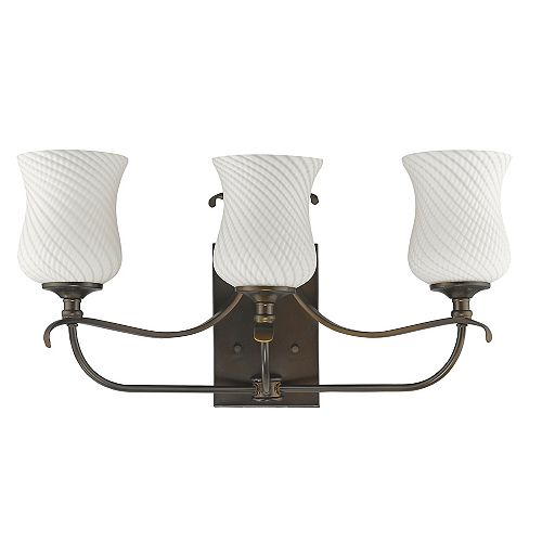 Acclaim Evelyn Indoor 3-Light Vanity with Hand Blown Glass Shades in Oil-Rubbed Bronze