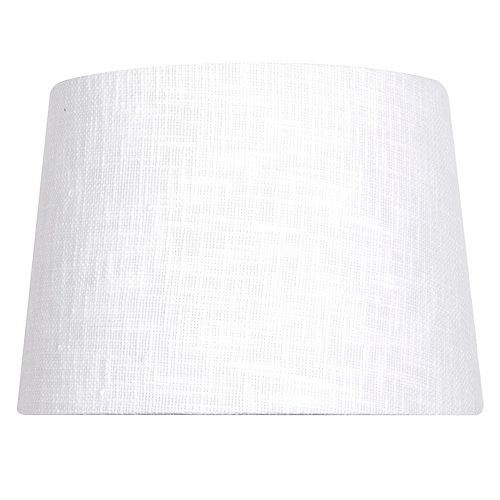 14 inch DIA Textured White Linen Blend Table Lamp Shade