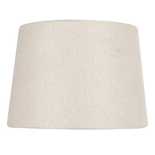 """Abat-jour de lampe de table en lin beige texturé DIA. 14"""""""